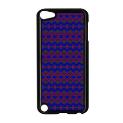 Split Diamond Blue Purple Woven Fabric Apple Ipod Touch 5 Case (black) by Mariart