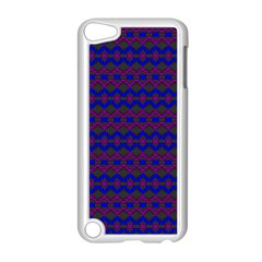 Split Diamond Blue Purple Woven Fabric Apple Ipod Touch 5 Case (white) by Mariart