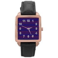 Split Diamond Blue Purple Woven Fabric Rose Gold Leather Watch  by Mariart