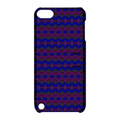 Split Diamond Blue Purple Woven Fabric Apple Ipod Touch 5 Hardshell Case With Stand by Mariart