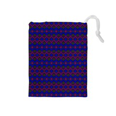 Split Diamond Blue Purple Woven Fabric Drawstring Pouches (medium)  by Mariart