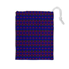 Split Diamond Blue Purple Woven Fabric Drawstring Pouches (large)  by Mariart
