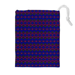 Split Diamond Blue Purple Woven Fabric Drawstring Pouches (extra Large) by Mariart