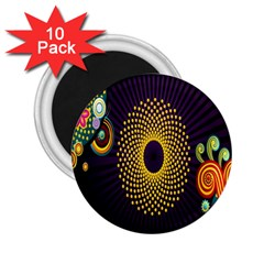 Polka Dot Circle Leaf Flower Floral Yellow Purple Red Star 2 25  Magnets (10 Pack)  by Mariart