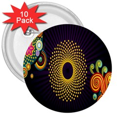 Polka Dot Circle Leaf Flower Floral Yellow Purple Red Star 3  Buttons (10 Pack)  by Mariart