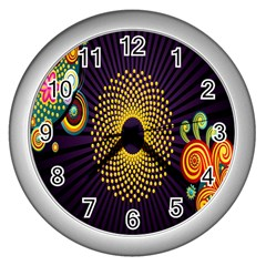 Polka Dot Circle Leaf Flower Floral Yellow Purple Red Star Wall Clocks (silver)  by Mariart