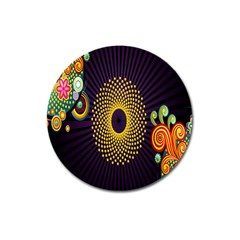 Polka Dot Circle Leaf Flower Floral Yellow Purple Red Star Magnet 3  (round) by Mariart