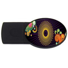 Polka Dot Circle Leaf Flower Floral Yellow Purple Red Star Usb Flash Drive Oval (2 Gb) by Mariart