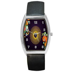 Polka Dot Circle Leaf Flower Floral Yellow Purple Red Star Barrel Style Metal Watch by Mariart