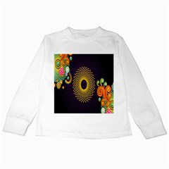 Polka Dot Circle Leaf Flower Floral Yellow Purple Red Star Kids Long Sleeve T Shirts by Mariart