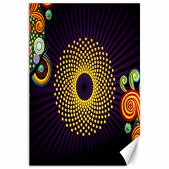 Polka Dot Circle Leaf Flower Floral Yellow Purple Red Star Canvas 12  X 18   by Mariart