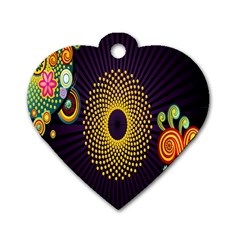 Polka Dot Circle Leaf Flower Floral Yellow Purple Red Star Dog Tag Heart (two Sides) by Mariart