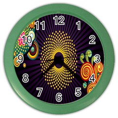 Polka Dot Circle Leaf Flower Floral Yellow Purple Red Star Color Wall Clocks by Mariart