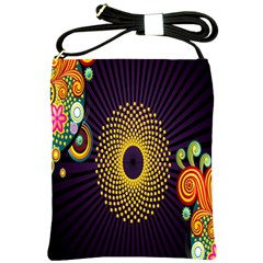 Polka Dot Circle Leaf Flower Floral Yellow Purple Red Star Shoulder Sling Bags by Mariart