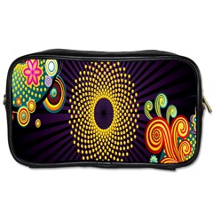 Polka Dot Circle Leaf Flower Floral Yellow Purple Red Star Toiletries Bags 2 Side by Mariart