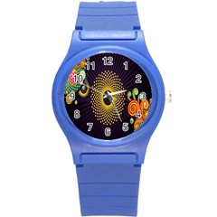 Polka Dot Circle Leaf Flower Floral Yellow Purple Red Star Round Plastic Sport Watch (s) by Mariart