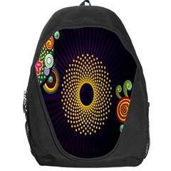 Polka Dot Circle Leaf Flower Floral Yellow Purple Red Star Backpack Bag by Mariart