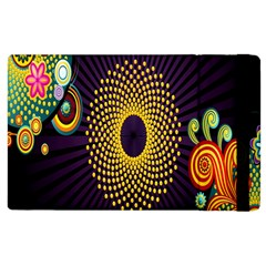 Polka Dot Circle Leaf Flower Floral Yellow Purple Red Star Apple Ipad 2 Flip Case by Mariart