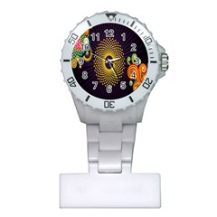Polka Dot Circle Leaf Flower Floral Yellow Purple Red Star Plastic Nurses Watch by Mariart
