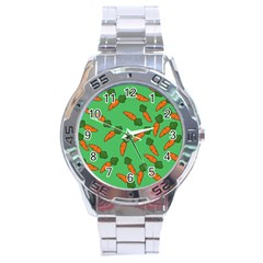 Carrot Pattern Stainless Steel Analogue Watch by Valentinaart