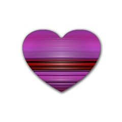 Stripes Line Red Purple Rubber Coaster (heart)  by Mariart