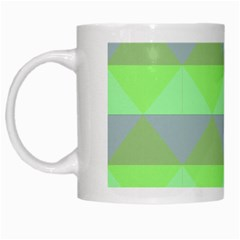 Squares Triangel Green Yellow Blue White Mugs by Mariart