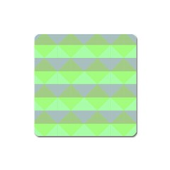 Squares Triangel Green Yellow Blue Square Magnet by Mariart