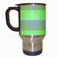 Squares Triangel Green Yellow Blue Travel Mugs (white) by Mariart
