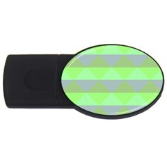 Squares Triangel Green Yellow Blue Usb Flash Drive Oval (4 Gb) by Mariart