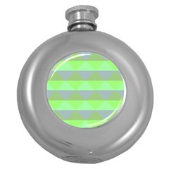 Squares Triangel Green Yellow Blue Round Hip Flask (5 Oz) by Mariart