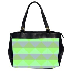 Squares Triangel Green Yellow Blue Office Handbags (2 Sides)  by Mariart