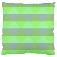 Squares Triangel Green Yellow Blue Large Cushion Case (one Side) by Mariart