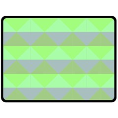 Squares Triangel Green Yellow Blue Double Sided Fleece Blanket (large)  by Mariart