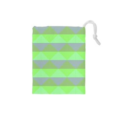 Squares Triangel Green Yellow Blue Drawstring Pouches (small)  by Mariart