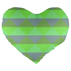 Squares Triangel Green Yellow Blue Large 19  Premium Flano Heart Shape Cushions by Mariart