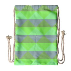 Squares Triangel Green Yellow Blue Drawstring Bag (large) by Mariart