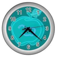 Xray Worms Fruit Apples Blue Wall Clocks (silver)  by Mariart