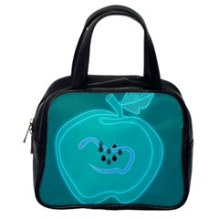 Xray Worms Fruit Apples Blue Classic Handbags (one Side) by Mariart