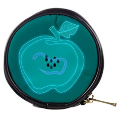 Xray Worms Fruit Apples Blue Mini Makeup Bags by Mariart