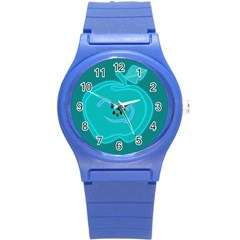 Xray Worms Fruit Apples Blue Round Plastic Sport Watch (s) by Mariart