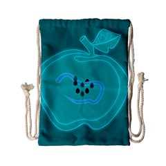 Xray Worms Fruit Apples Blue Drawstring Bag (small) by Mariart