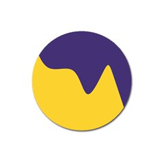 Purple Yellow Wave Magnet 3  (round) by Mariart