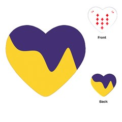 Purple Yellow Wave Playing Cards (heart)  by Mariart
