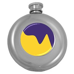 Purple Yellow Wave Round Hip Flask (5 Oz) by Mariart