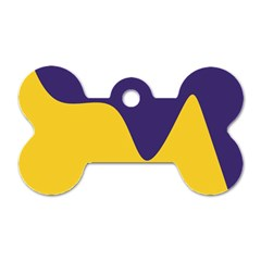 Purple Yellow Wave Dog Tag Bone (two Sides)