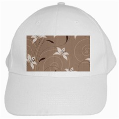 Star Flower Floral Grey Leaf White Cap by Mariart