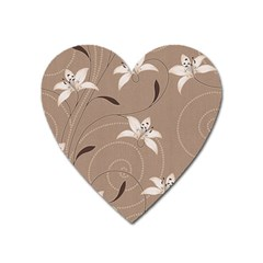 Star Flower Floral Grey Leaf Heart Magnet by Mariart