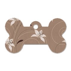 Star Flower Floral Grey Leaf Dog Tag Bone (one Side) by Mariart