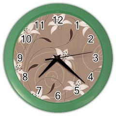 Star Flower Floral Grey Leaf Color Wall Clocks by Mariart