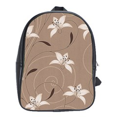 Star Flower Floral Grey Leaf School Bags (xl)  by Mariart